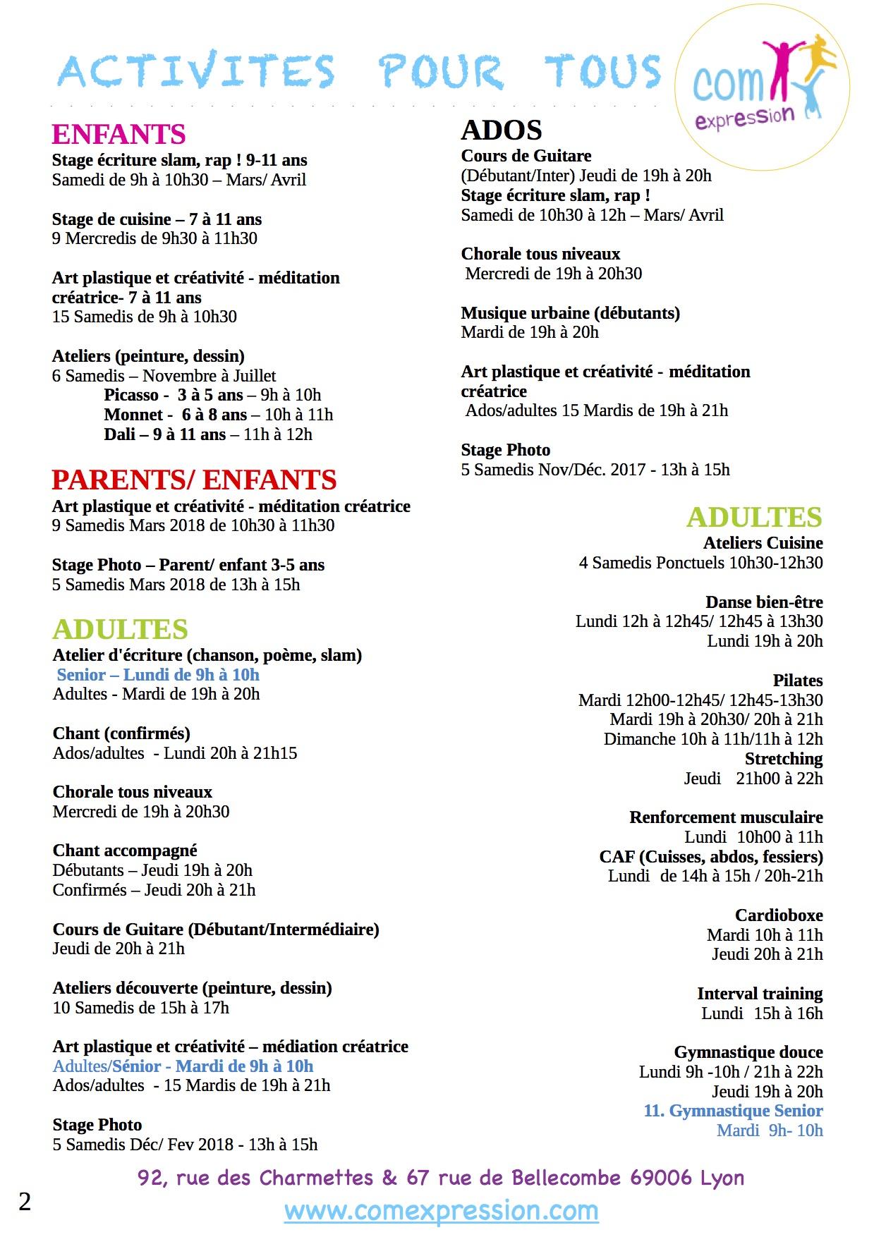 Com 39 expression activit s et ateliers pour tous enfants ados adultes parents enfants - Cours de cuisine pour ado ...